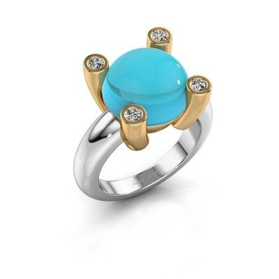 Picture of Ring Janice RND 585 white gold blue topaz 12 mm