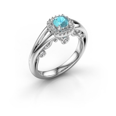 Foto van Verlovingsring Carina 585 witgoud blauw topaas 4.7 mm