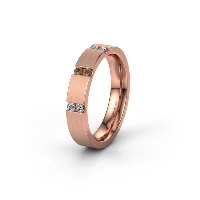 Wedding ring WH2133L14BM 375 rose gold brown diamond ±4x2.2 mm