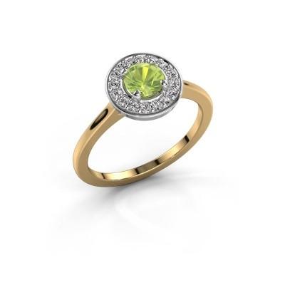 Ring Agaat 1 585 goud peridoot 5 mm
