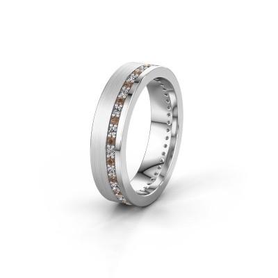 Trouwring WH0303L15BPM 950 platina bruine diamant 0.44 crt ±5x2 mm