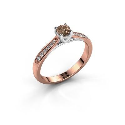 Foto van Verlovingsring Mia 2 585 rosé goud bruine diamant 0.30 crt
