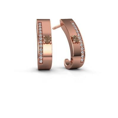 Oorbellen Vick1 375 rosé goud bruine diamant 0.230 crt