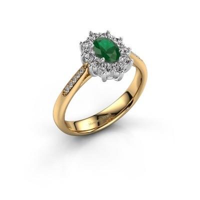 Verlobungsring Leesa 2 585 Gold Smaragd 6x4 mm