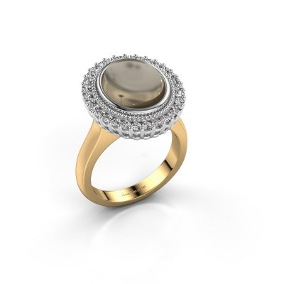 Ring Mila 585 goud rookkwarts 12x10 mm