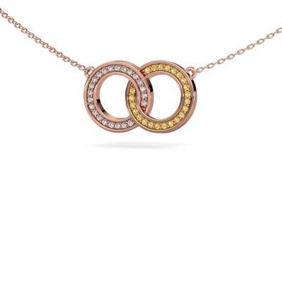 Ketting Circles 1 375 rosé goud gele saffier 1 mm