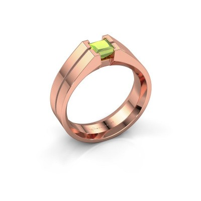 Foto van Heren ring Stefan 375 rosé goud peridoot 4.5 mm