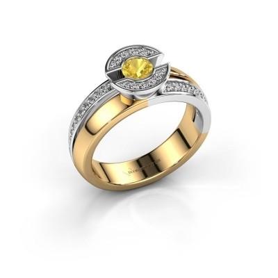 Foto van Ring Jeanet 2 585 goud gele saffier 4 mm