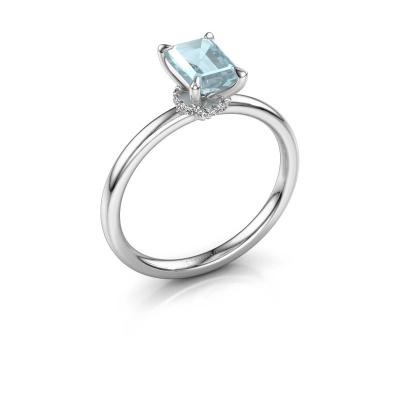 Foto van Verlovingsring Crystal EME 3 950 platina aquamarijn 7x5 mm