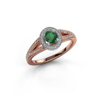 Verlovings ring Angelita OVL 585 rosé goud smaragd 6x4 mm