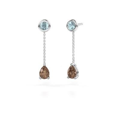 Foto van Oorhangers Laurie 3 950 platina bruine diamant 0.65 crt