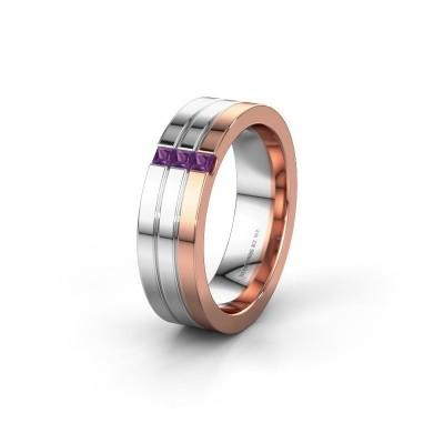 Wedding ring WH0428L16BP 585 rose gold amethyst ±0.24x0.08 in