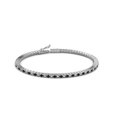 Foto van Tennisarmband Karin 2 mm 585 witgoud zwarte diamant 2.376 crt