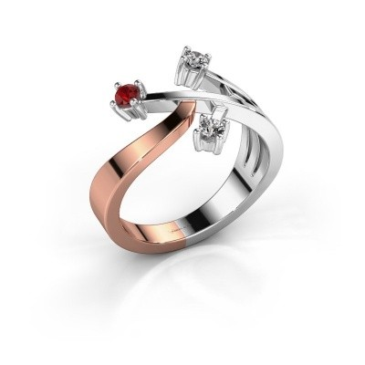 Ring Lillian 585 rosé goud robijn 2.5 mm