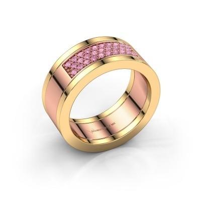 Ring Marita 3 585 rosé goud roze saffier 1.3 mm
