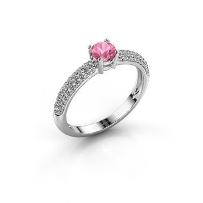 Foto van Verlovingsring Marjan 585 witgoud roze saffier 4.2 mm