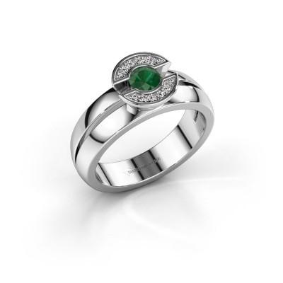 Foto van Ring Jeanet 1 585 witgoud smaragd 4 mm