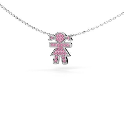 Collier Girl 585 witgoud roze saffier 1 mm