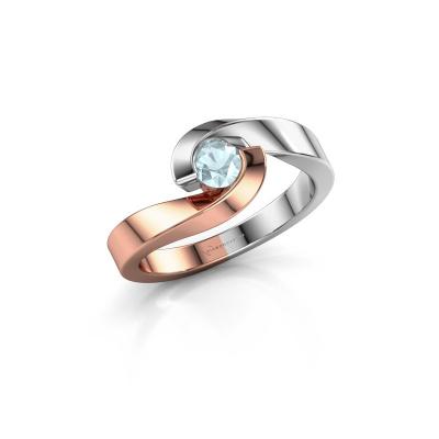 Foto van Ring Sheryl 585 rosé goud aquamarijn 4 mm