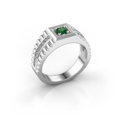 Men's ring Maikel 950 platinum emerald 4.2 mm