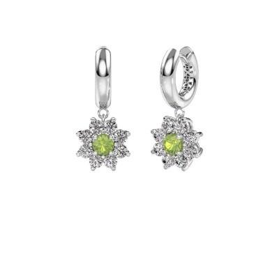 Drop earrings Geneva 1 950 platinum peridot 4.5 mm