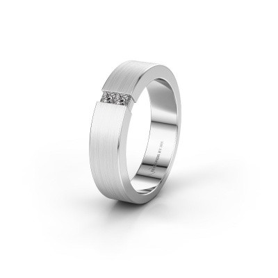 Trouwring WH2136L15E 585 witgoud diamant ±5x2.6 mm