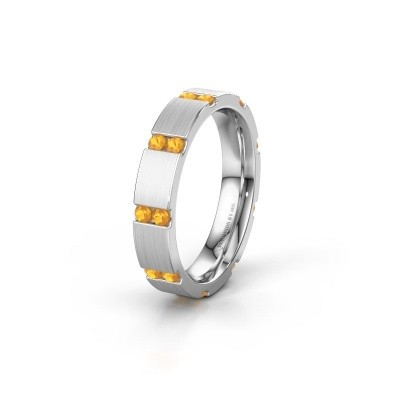 Huwelijksring WH2132L14BM 925 zilver citrien ±4x2.2 mm