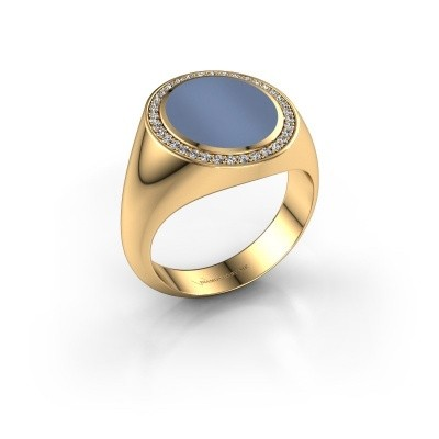 Zegel ring Adam 3 585 goud licht blauwe lagensteen 13x11 mm