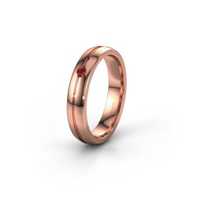 Trouwring WH0424L24A 585 rosé goud robijn ±4x1.7 mm