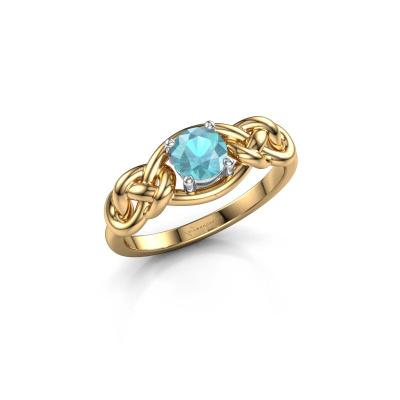 Foto van Ring Zoe 585 goud blauw topaas 5 mm