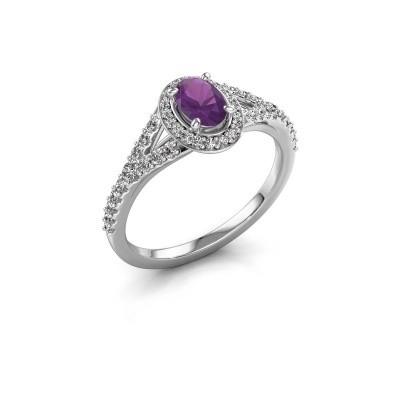 Belofte ring Pamela OVL 925 zilver amethist 7x5 mm