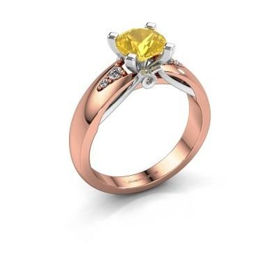 Foto van Verlovingsring Ize 585 rosé goud gele saffier 6.5 mm