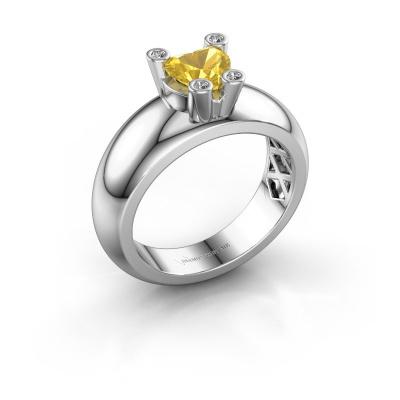 Ring Cornelia Heart 585 white gold yellow sapphire 6 mm