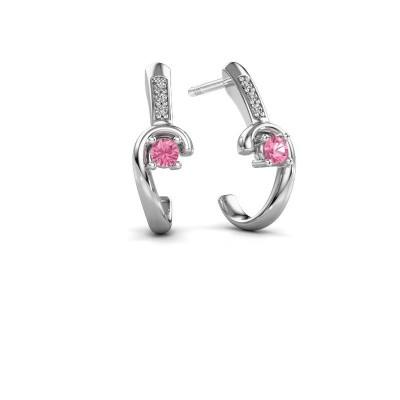 Earrings Ceylin 950 platinum pink sapphire 2.5 mm