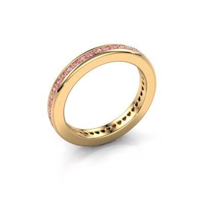 Aanschuifring Elvire 3 375 goud roze saffier 1.3 mm