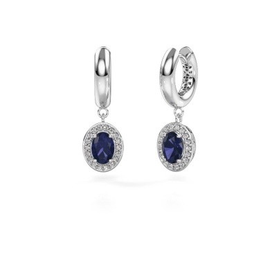 Picture of Drop earrings Annett 375 white gold sapphire 7x5 mm
