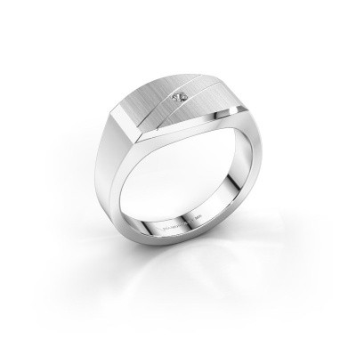 Men's ring Joe 3 585 white gold zirconia 2 mm