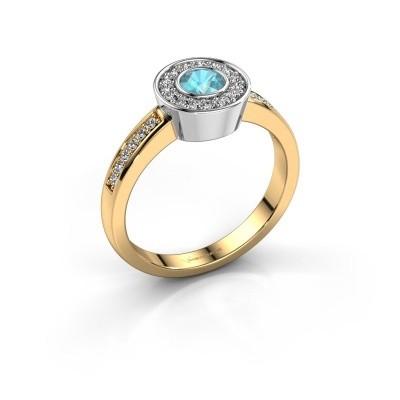 Ring Adriana 2 585 goud blauw topaas 4 mm