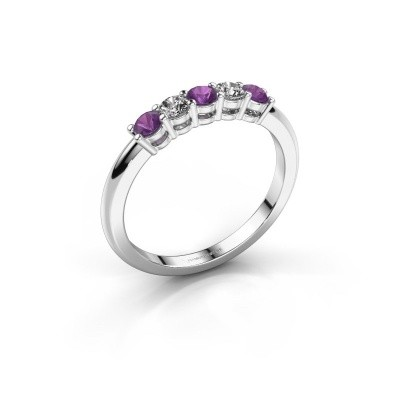 Picture of Promise ring Michelle 5 585 white gold amethyst 2.7 mm
