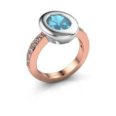 Ring Selene 2 585 rosé goud blauw topaas 9x7 mm
