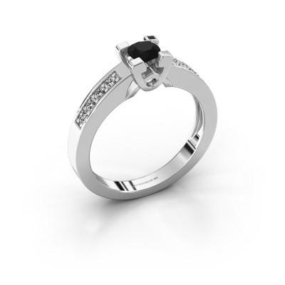 Verlovingsring Nina 2 585 witgoud zwarte diamant 0.52 crt