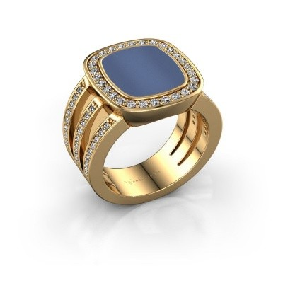 Picture of Signet ring Tijn 585 gold blue sardonyx 13x11 mm
