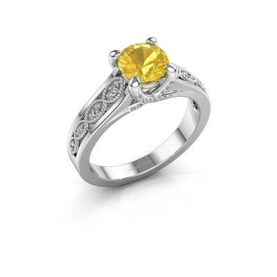 Engagement ring Clarine 585 white gold yellow sapphire 6.5 mm