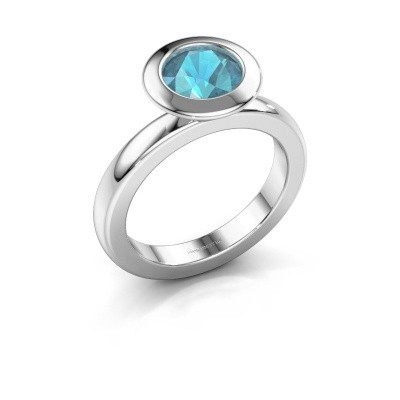 Stacking ring Trudy Round 585 white gold blue topaz 7 mm