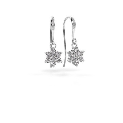 Picture of Drop earrings Dahlia 2 585 white gold zirconia 2.2 mm
