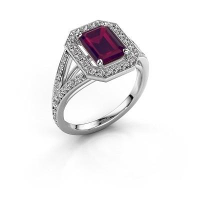 Promise ring Angelita EME 925 zilver rhodoliet 8x6 mm