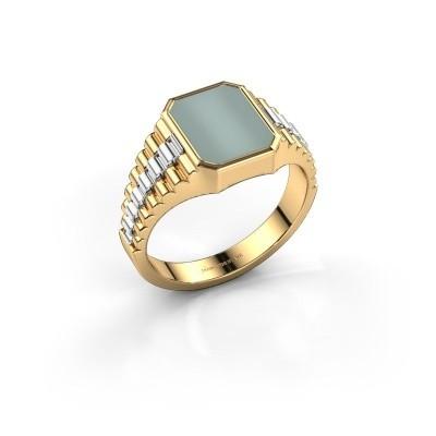 Foto van Rolex stijl ring Brent 1 585 goud groene lagensteen 10x8 mm