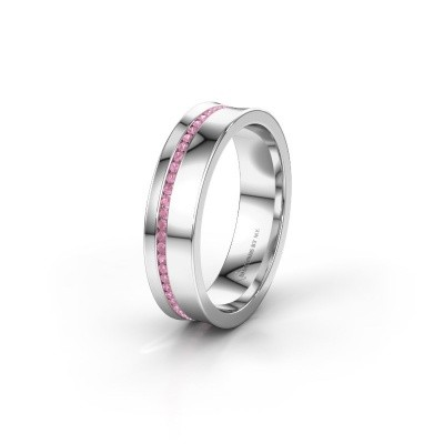 Wedding ring WH6090L55A 585 white gold pink sapphire ±5x1.7 mm