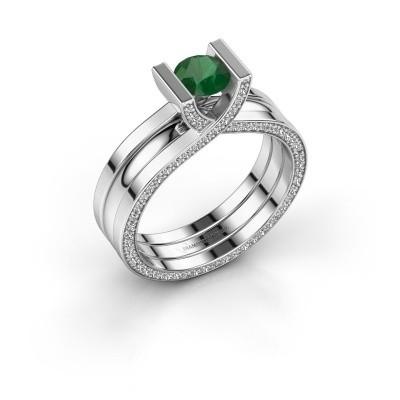 Foto van Ring Kenisha 925 zilver smaragd 5 mm