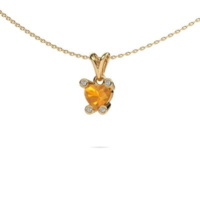 Foto van Ketting Cornelia Heart 375 goud citrien 6 mm
